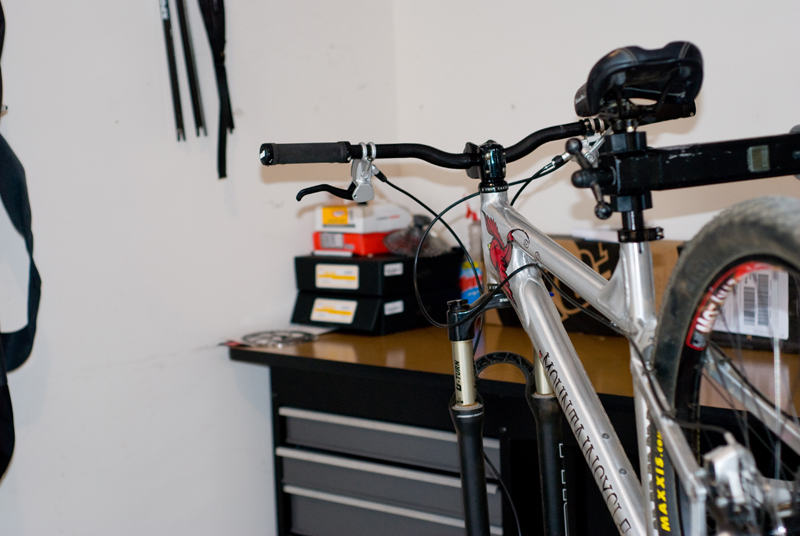 Mountain Bike On Stand - Bike Maintenance
