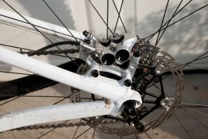 Rear Brake Mounted On Mountain Bike Frame