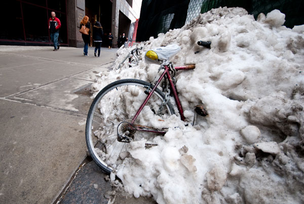 Delivery Bike Stuck In New York City Snow