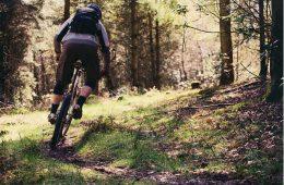 Mountain biking on wet trail